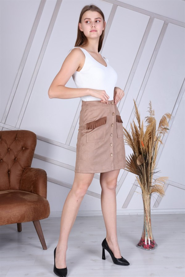 Apsen New Season Buttoned Suede Skirt 2152/45
