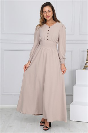 Apsen 4281/145 Buttoned V-Neck Long Dress