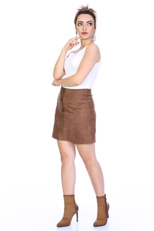 Apsen Buttoned Mini Suede Skirt 2117/45