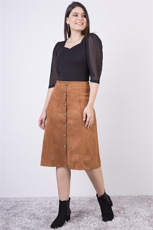 Apsen Buttoned Suede Skirt 2118/72
