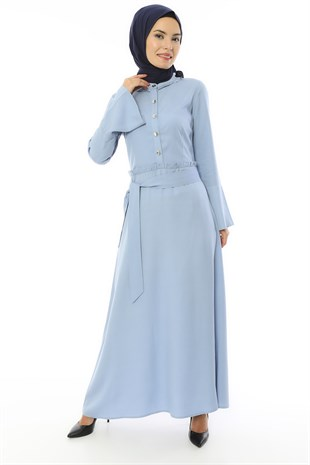 Apsen Buttoned and Belted Canvas Dress 3491