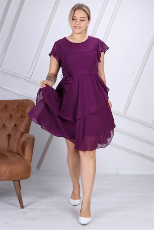 Apsen Crew Neck Chiffon Plus Size Dress4337/110