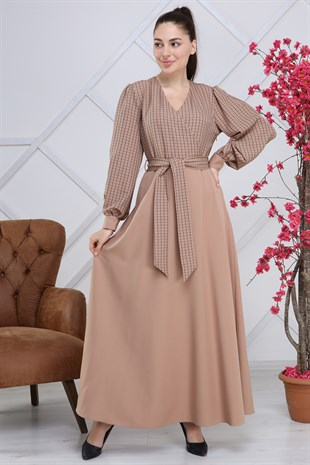 Apsen Double-Breasted Plaid Hijab Dress 4306/145