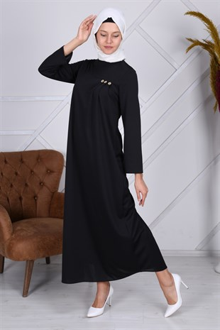 Apsen Crew Neck Button Detailed Hijab Dress 4335/145