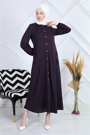 Apsen Button Detailed Pocket Hijab Dress 4336/145
