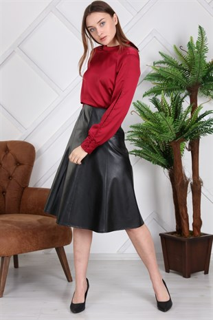 Apsen High Waist Leather Flared Skirt 2151/70