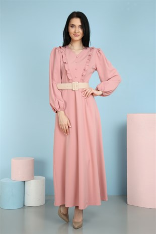 Apsen Belted Detailed Long Dress 4269/145