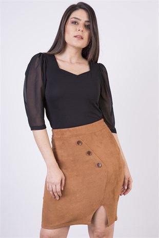Apsen New Season Suede Skirt 2115/45