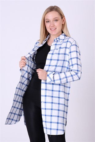 Summer Linen Plaid Tunic blue 4052/95 E